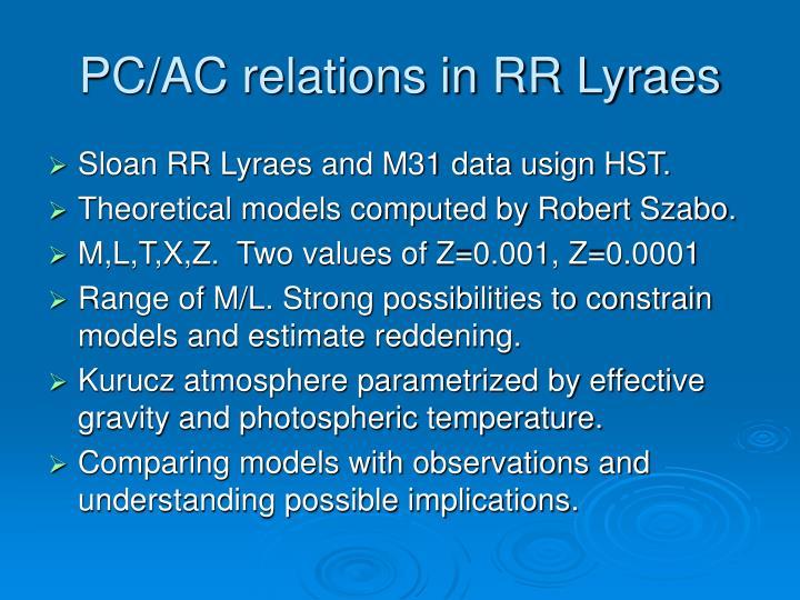 PC/AC relations in RR Lyraes