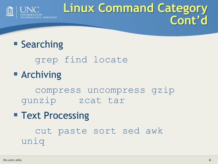 Linux Command Category Cont'd