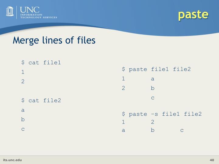 Merge lines of files