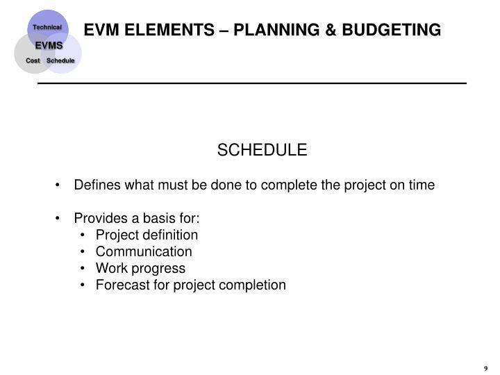EVM ELEMENTS – PLANNING & BUDGETING