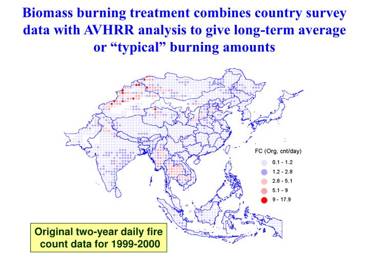 "Biomass burning treatment combines country survey data with AVHRR analysis to give long-term average or ""typical"" burning amounts"