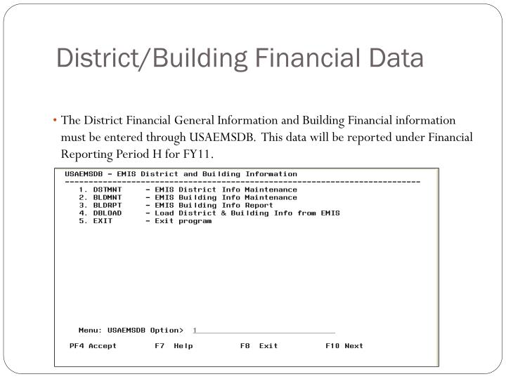 District/Building Financial Data