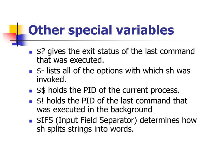 Other special variables