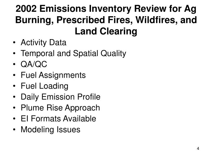 2002 Emissions Inventory Review for Ag Burning, Prescribed Fires, Wildfires, and Land Clearing