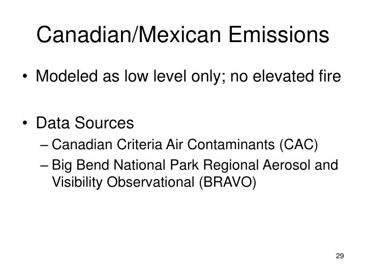 Canadian/Mexican Emissions