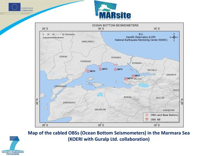 Map of the cabled OBSs (Ocean Bottom Seismometers) in the Marmara Sea