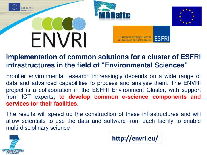 """Implementation of common solutions for a cluster of ESFRI infrastructures in the field of """"Environmental Sciences"""""""
