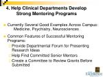 4 help clinical departments develop strong mentoring programs