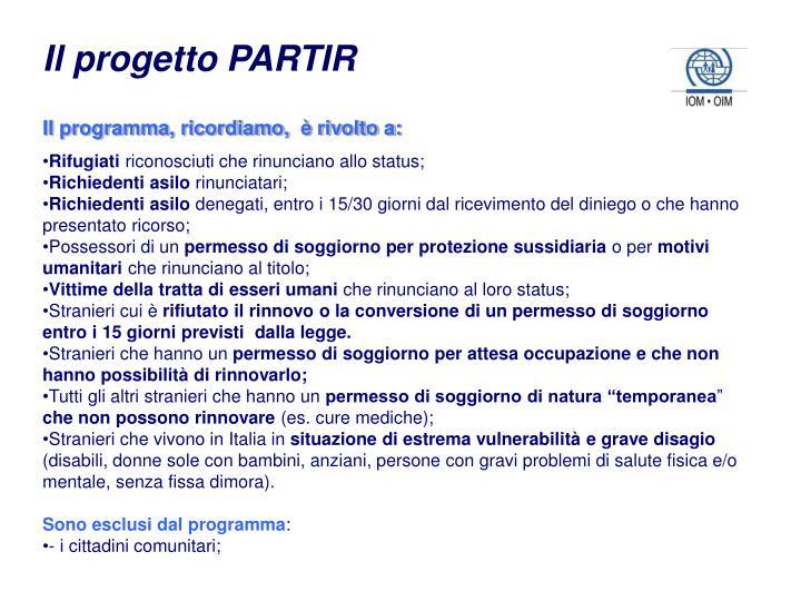Il progetto PARTIR