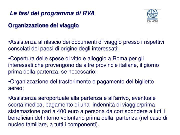 Le fasi del programma di RVA