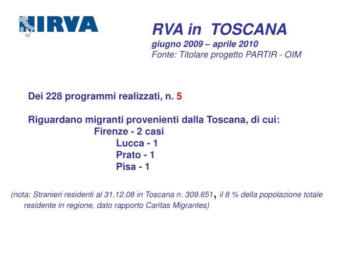 RVA in  TOSCANA