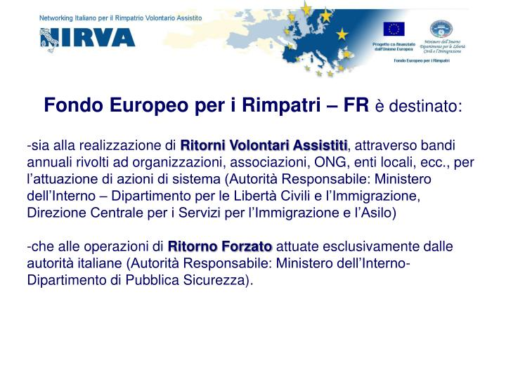 Fondo Europeo per i Rimpatri – FR