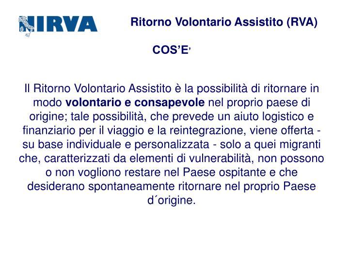 Ritorno Volontario Assistito (RVA)