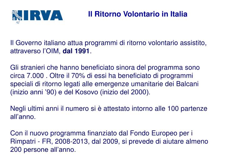 Il Ritorno Volontario in Italia