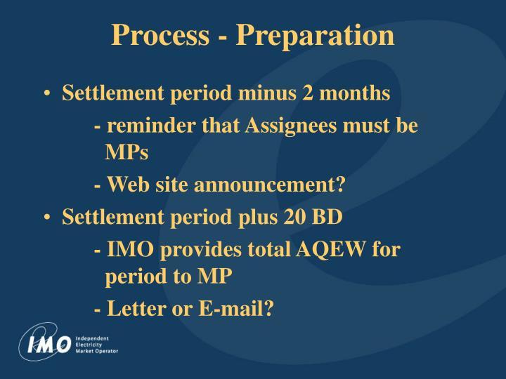 Process - Preparation