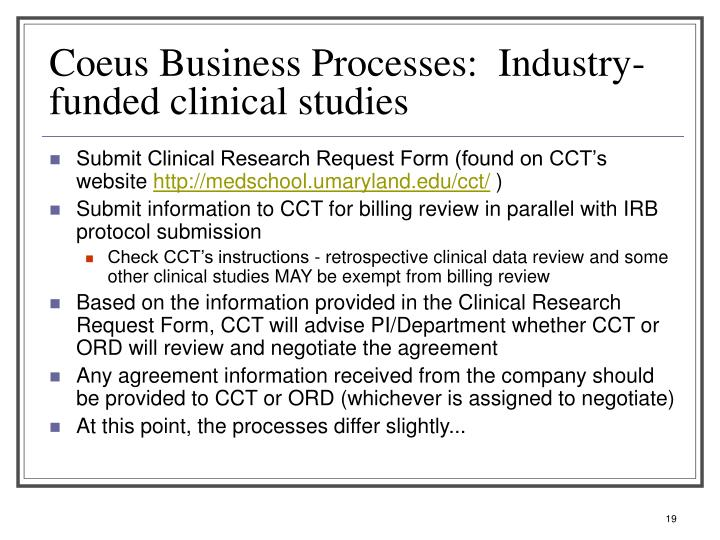 Coeus Business Processes:  Industry-funded clinical studies