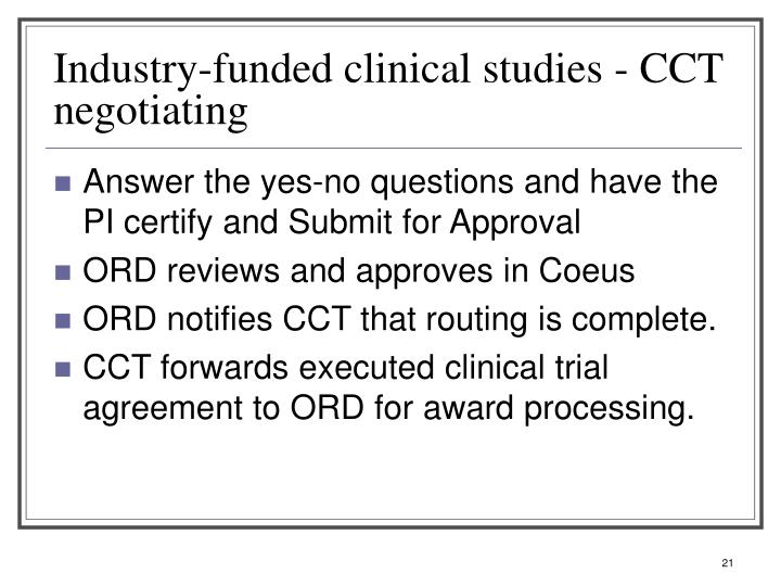 Industry-funded clinical studies - CCT negotiating