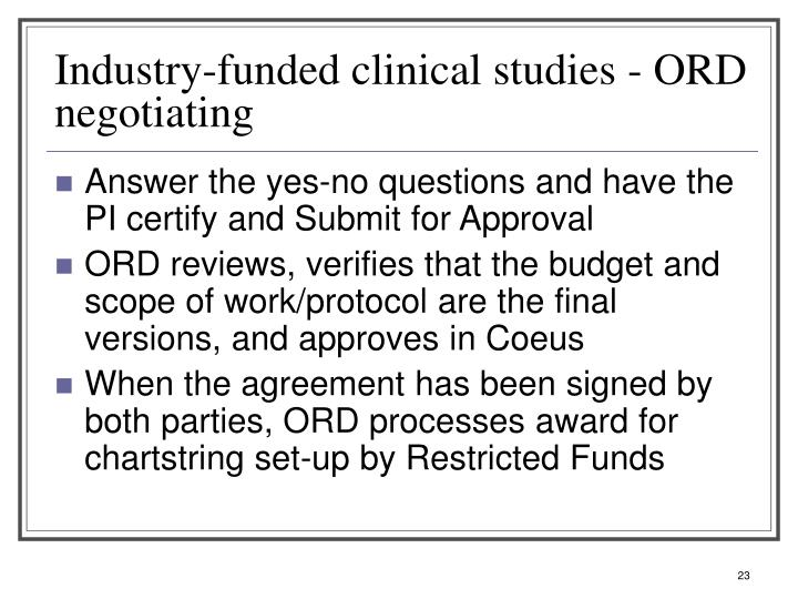 Industry-funded clinical studies - ORD negotiating