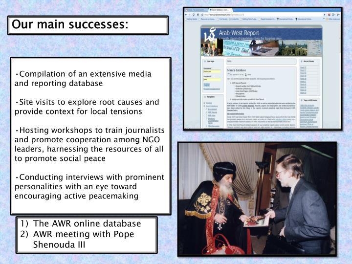 Our main successes: