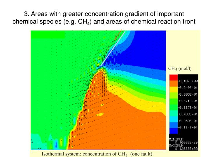 3. Areas with greater concentration gradient of important chemical species (e.g. CH