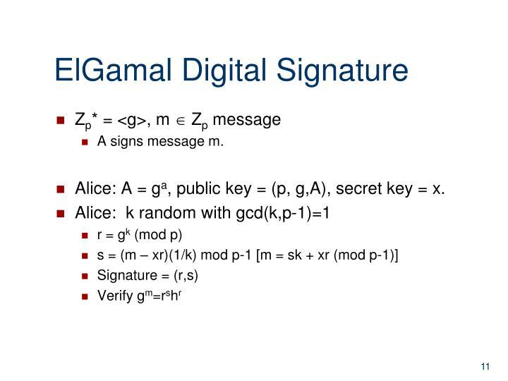 ElGamal Digital Signature