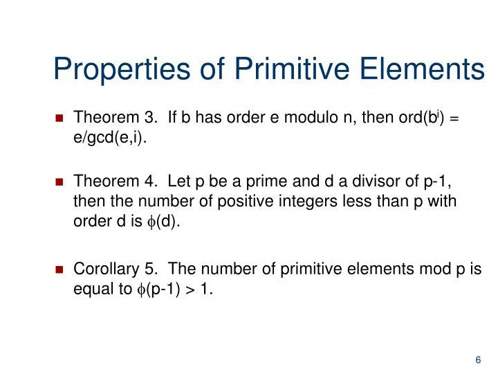 Properties of Primitive Elements
