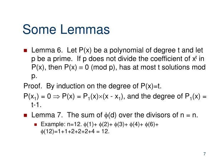 Some Lemmas