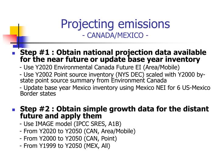 Projecting emissions