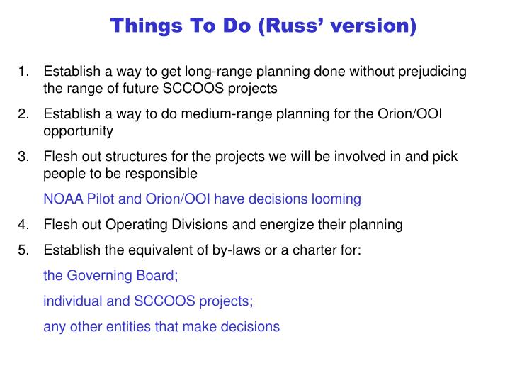 Things To Do (Russ' version)