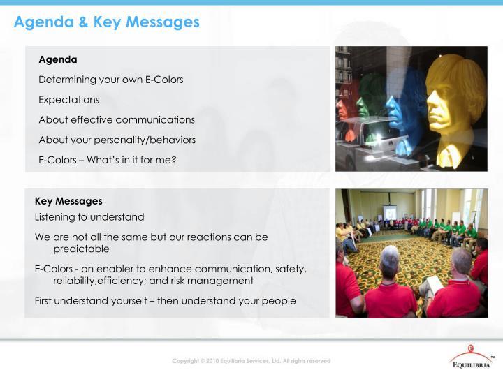 Agenda & Key Messages