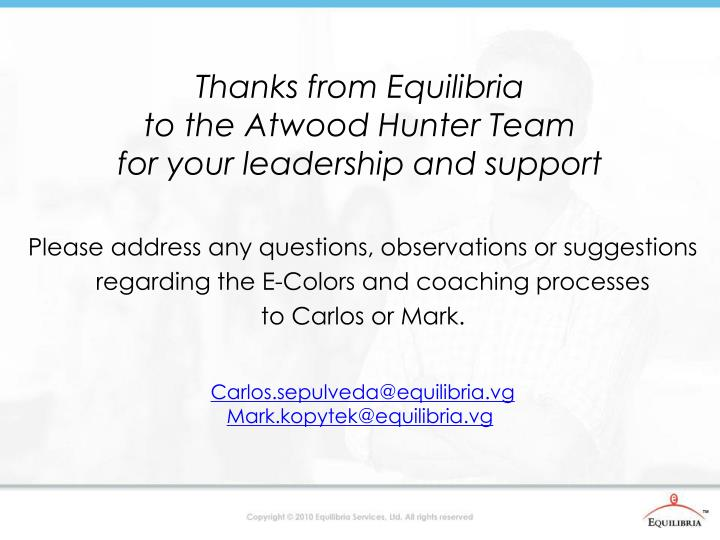 Thanks from Equilibria