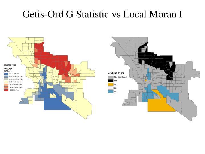 Getis-Ord G Statistic vs Local Moran I