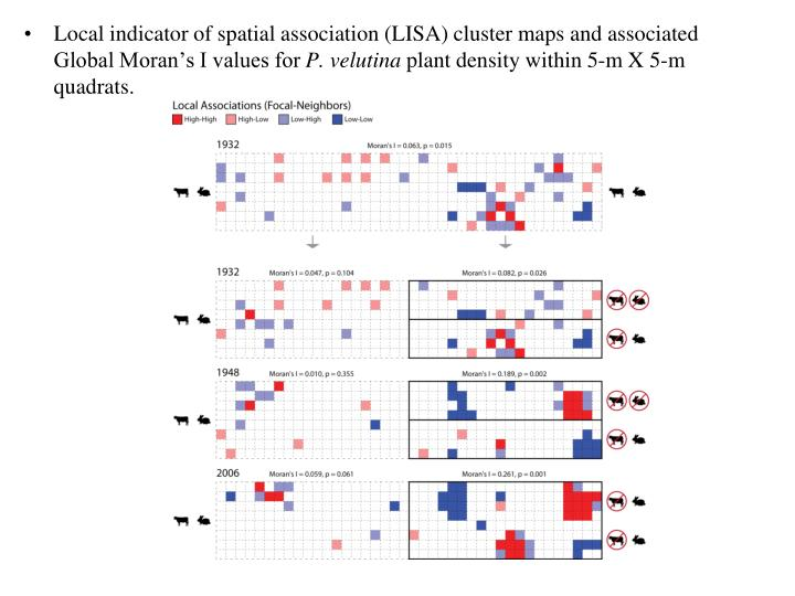 Local indicator of spatial association (LISA) cluster maps and associated Global Moran's I values for
