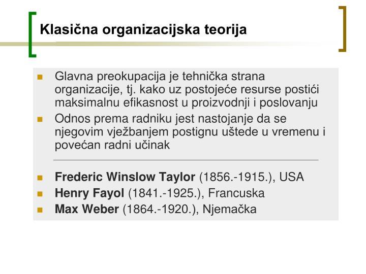 Klasična organizacijska teorija