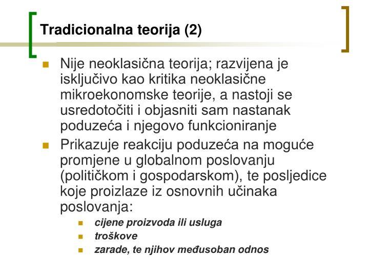 Tradicionalna teorija (2)