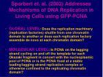 sporbert et al 2002 addresses mechanisms of dna replication in living cells using gfp pcna