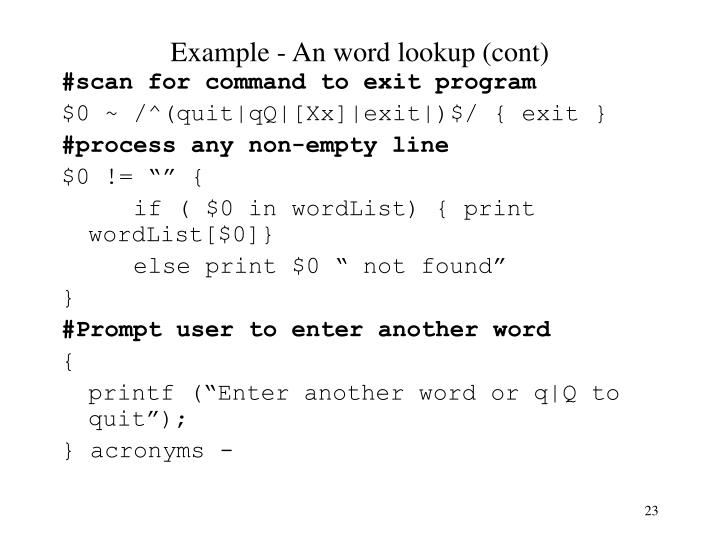 Example - An word lookup (cont)