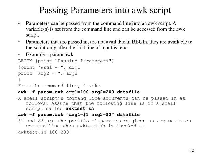 Passing Parameters into awk script