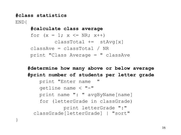 #class statistics
