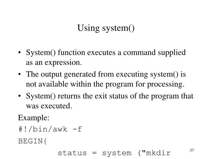 Using system()