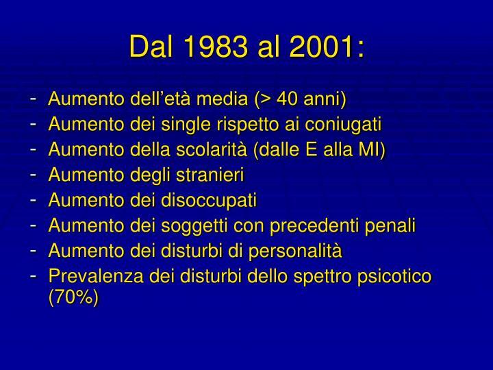 Dal 1983 al 2001: