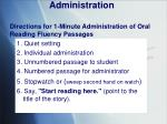 administration directions for 1 minute administration of oral reading fluency passages