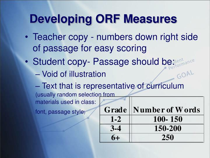 Developing ORF Measures