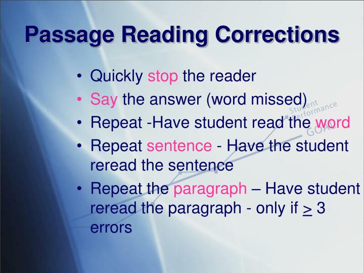 Passage Reading Corrections