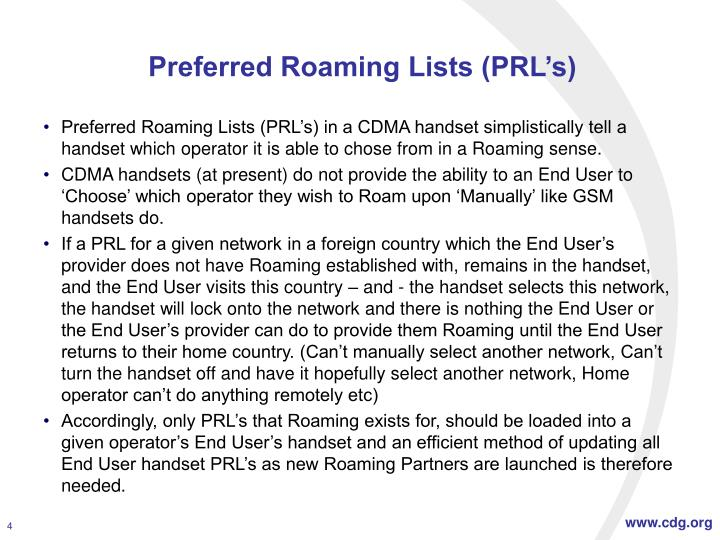 Preferred Roaming Lists (PRL's)