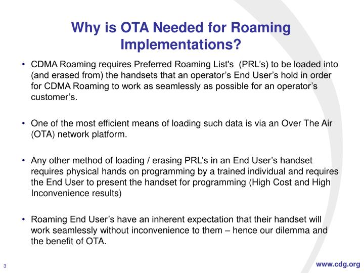 Why is OTA Needed for Roaming Implementations?