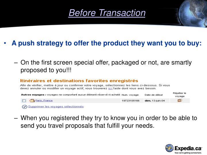 Before Transaction