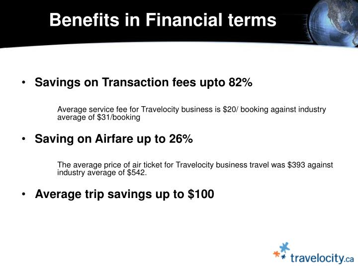 Benefits in Financial terms