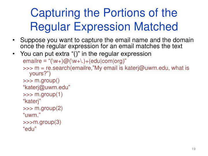 Capturing the Portions of the Regular Expression Matched