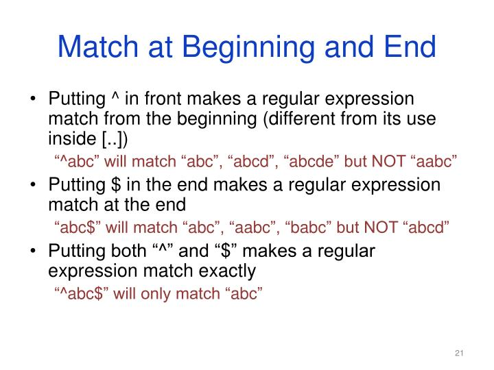 Match at Beginning and End